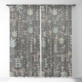 Woodland Nature at Night Sheer Curtain