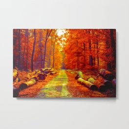 Autumn Forest Road - Oil painting - Red hue Metal Print
