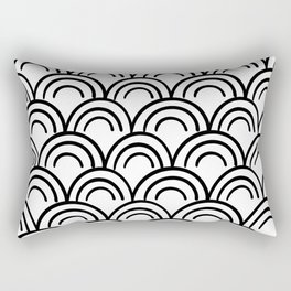 Black and White Half Circle Repeat Design / Black Rainbow Repeat / Modern Minimal Black and White Rectangular Pillow