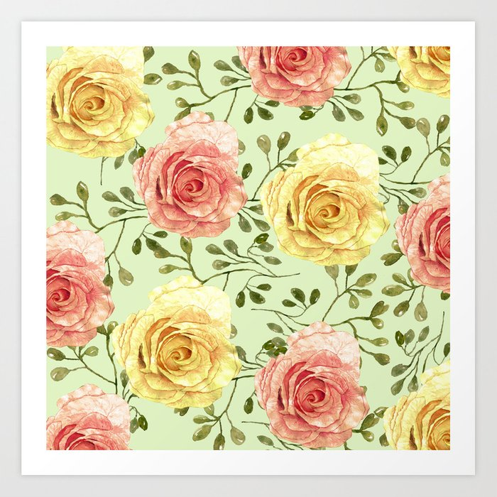 Watercolor Roses #6 Art Print