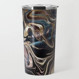 Marble Paint Swirl Trendy Abstract Glitter Rose Gold Pink Teal Turquoise Travel Mug