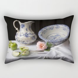 Delft blue china and apples still life Rectangular Pillow