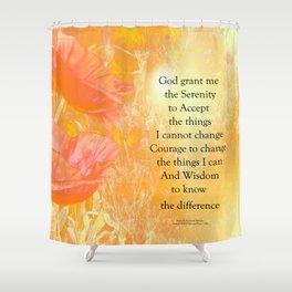 Serenity Prayer Orange Poppy Garden Glow Shower Curtain