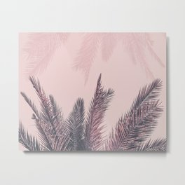 Pretty in Pink Tropical Palm Leaves Metal Print