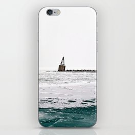 Winter in Chicago aka Chiberia; Ice Patches Float in Lake Michigan iPhone Skin