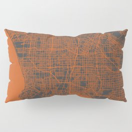 Los Angeles Map orange Pillow Sham