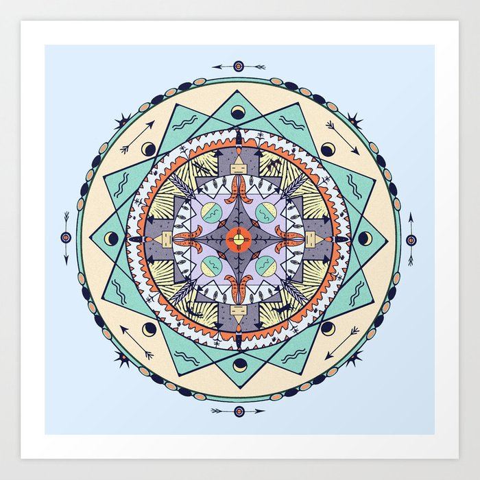 Time and Light Native Shapes Mandala Art Print by debsdigs