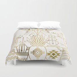 Santa Fe Garden – Gold Ink Duvet Cover