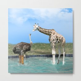 The Ostrich with Galoshes Metal Print