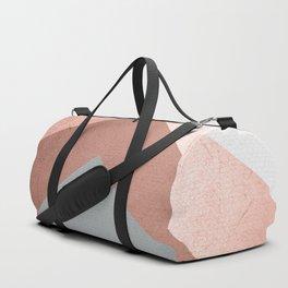 Grey, Bronze Chevron Home Decor Design Duffle Bag