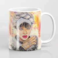 rihanna Mugs featuring RIHANNA by Share_Shop