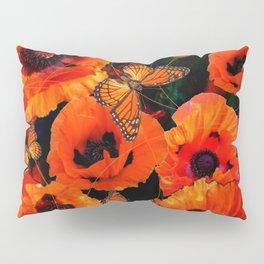 ORANGE MONARCH BUTTERFLIES POPPY GARDEN ART Pillow Sham