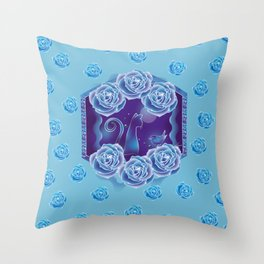 Blue rose and blue cat Throw Pillow