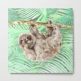 Let's hang out -- watercolor sloth Metal Print