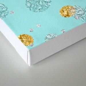 Treasures on aqua - Gold glitter polkadots on turquoise background Canvas Print