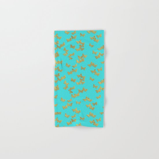 Gold glitter butterflies on aqua - Animal Insect Gold Glitter effect on #Society6 Hand & Bath Towel