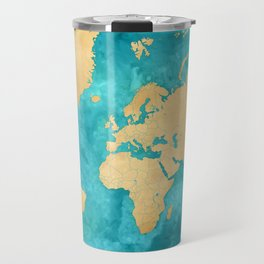 "Teal watercolor and gold world map with countries and states ""Lexy"" Travel Mug"