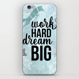 Work Hard Dream Big - Space Fox Hustle iPhone Skin