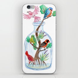 Birds in a Bottle Watercolor Painting iPhone Skin