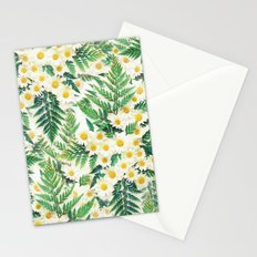 Textured Vintage Daisy and Fern Pattern  Stationery Cards