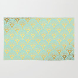Art Deco Mermaid Scales Pattern on aqua turquoise with Gold foil effect Rug
