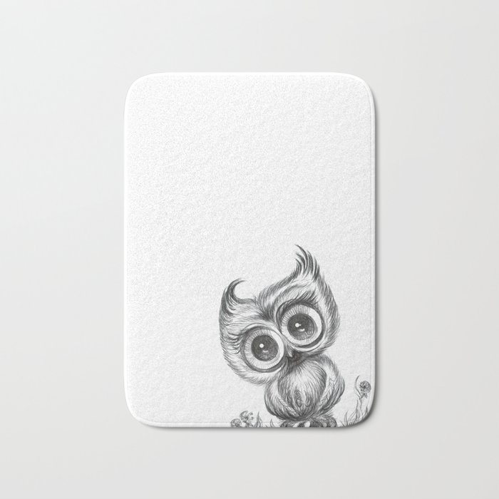 Baby Owl Wall Art Nursery Decor Bird Ilration Animals Bath Mat By Noramanapova
