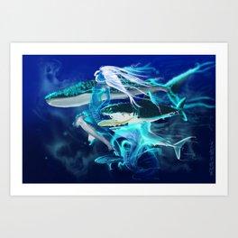Ghost Among the Sharks Art Print