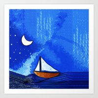 sailing Art Prints featuring Sailing by Brontosaurus