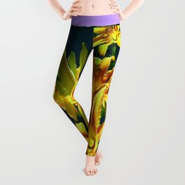 Yellow Lilies Dark  Green & Lilac-grey Design Leggings