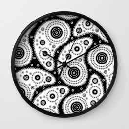 Black And White Paisley Wall Clock