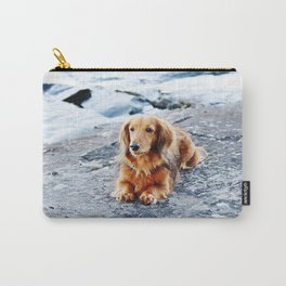 Red longhaired dachshund on waterfront cliff Carry-All Pouch