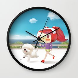 Little girl running with her dog Wall Clock