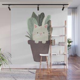 Kittie Cat on a Flower pot Wall Mural