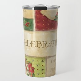 Celebrate Christmas Traditions Vintage Style Collage, Joy, love, family & friends Travel Mug