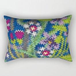 Starry Floral Felted Wool, Blue Rectangular Pillow