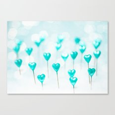 Turquoise hearts Canvas Print