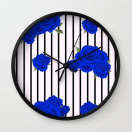Blue Roses Wall Clock