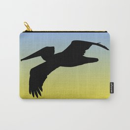 Brown Pelican in Flight Silhouette at Sunrise Carry-All Pouch