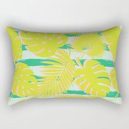 Tropical Leaves & Stripes - Mint / Green / Blush Rectangular Pillow
