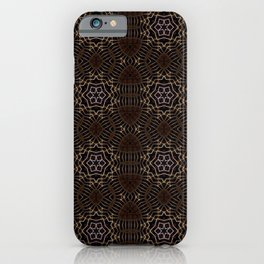 Shapes of stars and snowflakes with dark gold and bronze tones iPhone Case