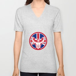 British Physical Fitness Union Jack Flag Icon Unisex V-Neck