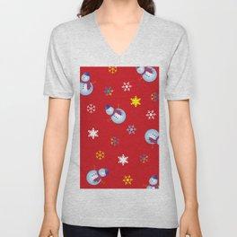 Snowflakes & Snowman_D Unisex V-Neck