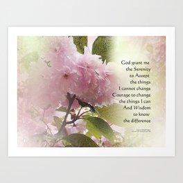 Serenity Prayer Cherry Blossom Glow Art Print