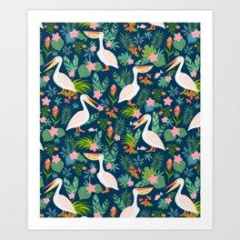 Floral Pelican Art Print