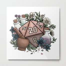 Alchemist D20 Tabletop RPG Gaming Dice Metal Print