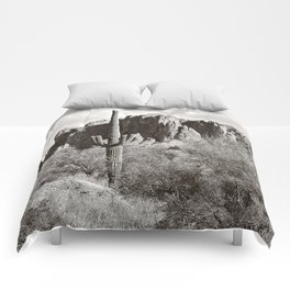 Saguaro in black and white Comforters