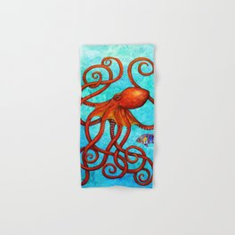 Distracted - Octopus and fish Hand & Bath Towel