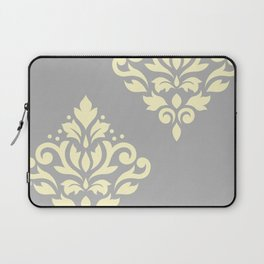 Scroll Damask Art I Yellow on Grey Laptop Sleeve