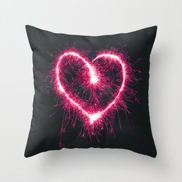 Firework Heart (Color) Throw Pillow