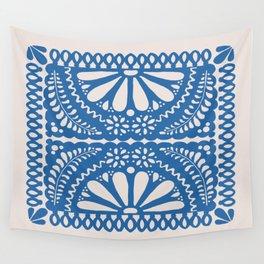 Fiesta de Flores Blue Wall Tapestry